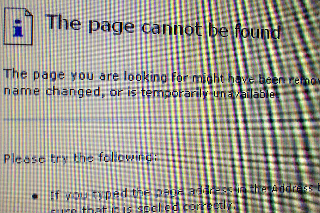 Page cannot be found error message