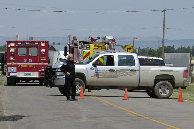The scene Thursday afternoon near the intersection of West Blackfoot St. and Ft. Sanders Rd.