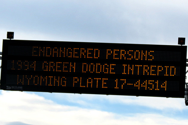Endangered Person sign above I-80